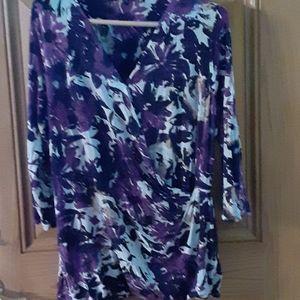 3/4 sleeve mock wrap knit top 2X, Relativity